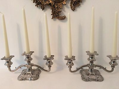 Pair Of Antique English Silver Plate Candelabra
