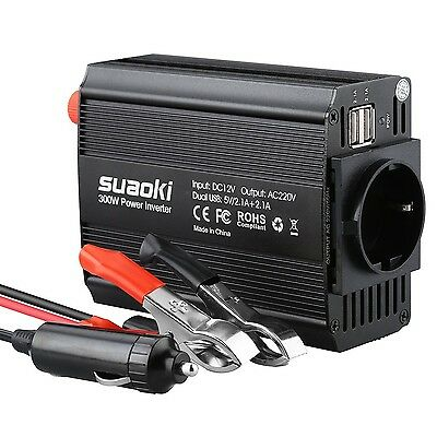 Suaoki Power Inverter 300W Sine Wave DC 12V to 220V 240V AC Converter with Ca...