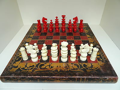 Vintage High Quality Early Plastic Chess Set And Board
