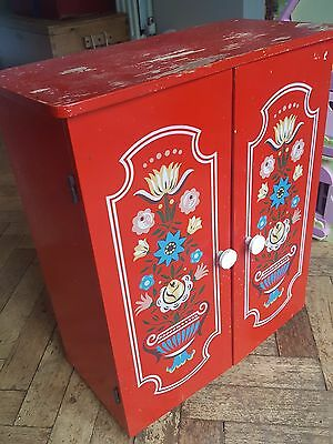 Small Vintage Red Wooden Cupboard from narrowboat / barge - Collection Only.