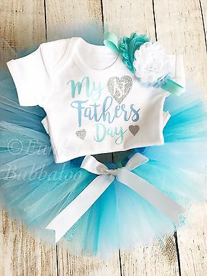 My First Fathers Day Baby Girl Tutu Outfit Bodysuit Headband Newborn Daddys Girl