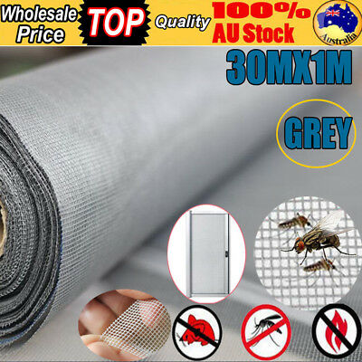 100FT / 30M Roll PVC Flyscreen Insect Flywire Fly Screen Window Net Mesh Grey AU