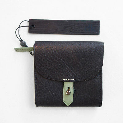 Brand New Elk Accessories Black Leather Ladies Mini Purse Wallet! Cards + Coins