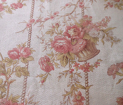 Antique French Basket Of Roses Cotton Fabric ~ Blush Rose Pink Sage Green