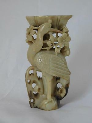 "Chinese Soapstone Carving ""crane"" Candle Stick"