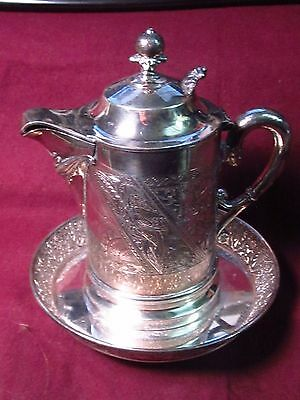 Silverplate JAMES W. TUFTS CREAMER W/ UNDER PLATE QUADRUPLE 1951 Bird & Floral