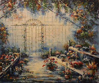Conservatory flower display 24x20 OIL PAINTING on flat canvas signed W FALLER