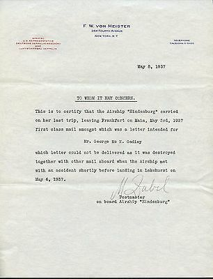 F.w Von Meister Letter Explaining Nondelivery Of Mail Hindenburg Accident Bt7941
