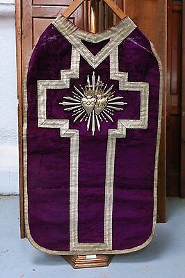 Chasuble Purple Heavy Velvet and Silver Thread French Chasuble (T)