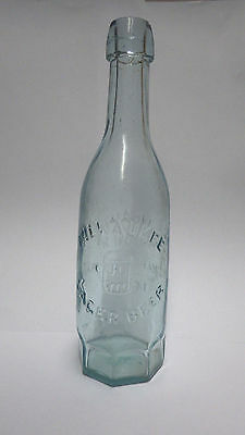 J. Gahm Charlestown, Mass Milwaukee Lager Beer BOTTLE, ANTIQUE GLASS BEER BOTTLE