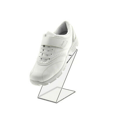 """Back Acrylic Shoe Riser 3""""W x 8""""H x 5 1/8""""D Clear Slant with Heel Stop"""