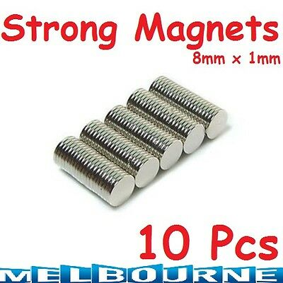 10x Disc Rare Earth Neodymium N35 Super Strong Magnets Craft Model 8mm x 1mm #5D