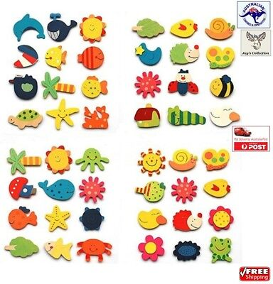 12 Pcs Funny Fridge Magnets Cute Mix Cartoon Wooden Kid Education Toy [A4N2~A9]
