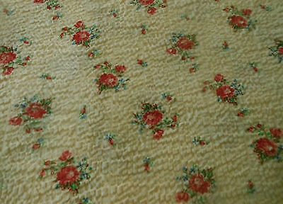 Antique Roses Earlier Seersucker Plisse Cotton Fabric ~ Soft Red Blue Yellow
