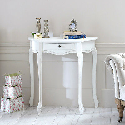 White Wooden Half Moon console Table Shabby French chic country living room hall