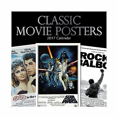 """Classic Popular Hollywood Film Movie Posters 2017 Monthly Wall Calendar 12"""" x..."""