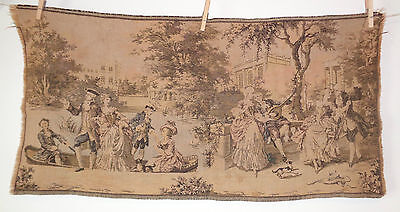 "Antique Vintage Tapestry Colonial Lovers City River Boat Park Scene 37 x 19"" #7"