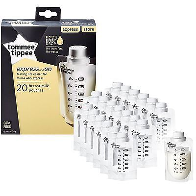 20 x Tommee Tippee Express & Go Breast Milk Pouches, Baby Milk Feeding 180ml/6oz