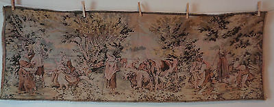 Antique Belgium Tapestry Pastoral Women Children Cows Cattle Oblong 56 x 19.5 #9