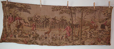 "Antique Belgium Tapestry English Hunt Dogs Horses Hunter Deer 56 x 20"" #10"