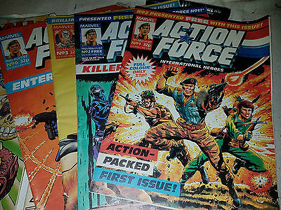 Vintage Action Force Comic (Marvel) Issues, 1, 2 3 and 6