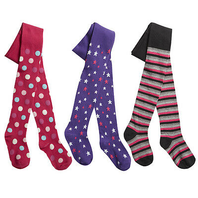 Kids Childrens Girls Printed Tights 3 Pairs Funky Design Thick Warm Age 2-8 NEW