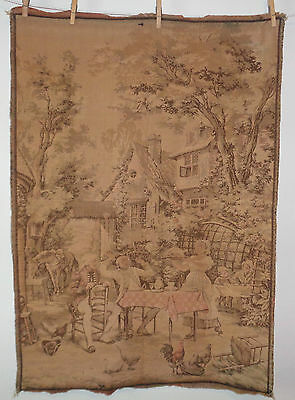 Antique Tapestry Feast at a Country Cottage Colonial Scene Made in France #12