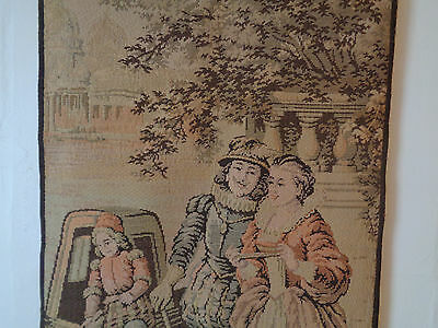 Antique French Tapestry Colonial Couple w/ Dogs Dutch (?) Boy #13 50 x 25.5""