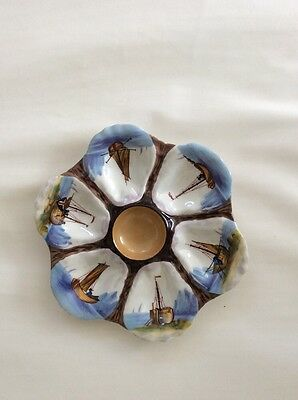 Antique French Porcelain Hand Painted Oyster Plate Sailing Ships