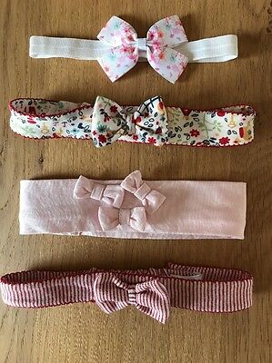 Bundle of Baby Girls Pink, Red & White Headbands, Age 6-12 Months