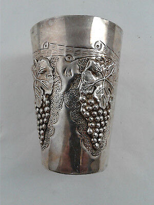Kiddush Wine Cup Becher - Sterling Silver 925 - 70 g - Engraved, see description