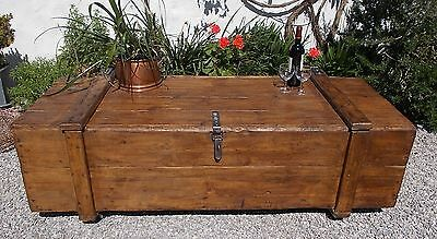 coffee table, vintage trunk, old French polished box, blanket box, toy box