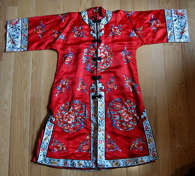 Antique Chinese Red Hand Embroidered Long Silk Coat Robe Dress