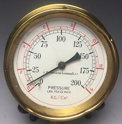Antique Brass J.W. Ray & Co London Ship Maritime Lbs/sq Inch Pressure Gauge