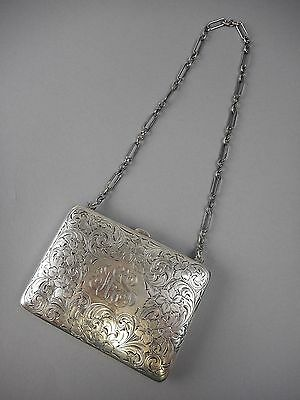 Antique Brite Cut Sterling Silver Coin Purse Gray Lining Sheffield England