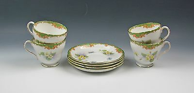 Set of 4 Shelley China 13471-YELLOW FLORAL Cup&Saucer Sets Excellent Condition