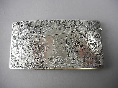 Antique Sterling Silver Curved Monogrammed Calling Card Case