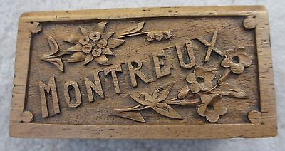 Small carved antique box from Montreux, 19th century