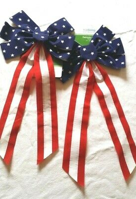 """Patriotic Bows Red White Blue US Flag Pattern Party Decor 10"""" x 19"""" Lot of 2 New"""
