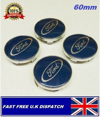 4 X Ford Navy Blue 60mm Alloy Wheels centre caps Fit most Models
