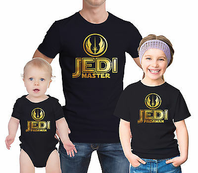 Star wars Jedi master and Padawan inspired Father child and baby t-shirts set