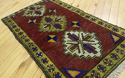 "Antique 1'8×2'10""Tribal Cushion Cover Wool Pile Rug Turkey"