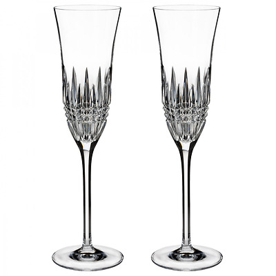 Pair of Waterford Lismore Diamond Essence Champagne Flute Glasses *New in Box*