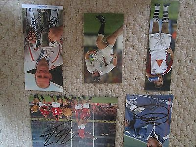 5 England Rugby World Cup Winners Signed Pictures inc: Martin Johnson