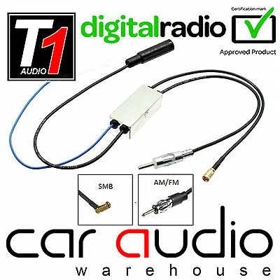 DAB+ AM FM Radio SMB Aerial Antenna Splitter for ERISIN Car Stereo CT27AA136