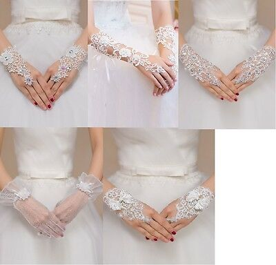 White Enchanting Lace Diamond Flower Gloves wedding Bridal Holy Communion
