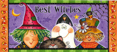 Evergreen Best Witches Decorative Mat Insert, 10 x 22 inches