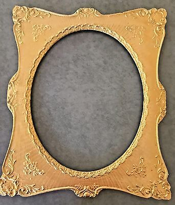 Rare Antique 1850-1899 Ornate Gold Wooden Picture/Mirror Frame with Oval Opening