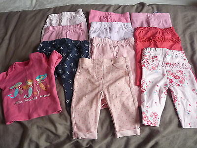 Girls Baby  Clothes 9 Pants & 1 Vest  0-3 Months  Used