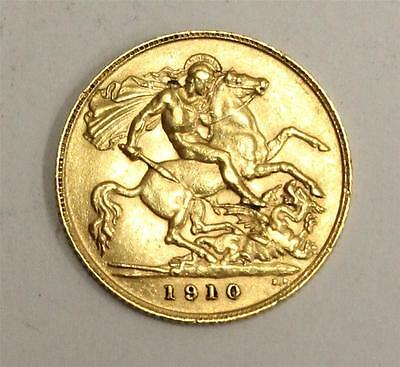 1910 Great Britain Gold Half Sovereign Extremely Fine condition EF45 & original